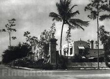 1926 Vintage CORAL GABLES FLORIDA Spanish Architecture House Photo Art By HOPPE