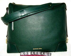 Michael Kors Crosby Large Leather Hobo Shoulder Bag Racing Green Leather NWT$298