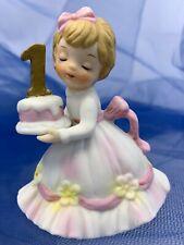 Vintage Lefton Birthday Little Girl By Lefton Age 1 Birthday Cake Figurine 549-1