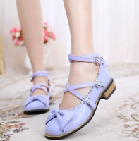 Women's Sweet Princess Buckle Ankle Cross Strap Mary Janes Lolita Cosplay Shoes