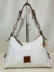 Dooney & Bourke Shoulder Bag WHITE & British Tan Leather Handbag Purse Pebbled
