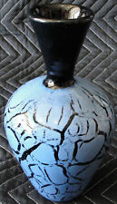 Exceptional Correia Art Glass  Black & Blue Veined Iridescent Vase Artists Proof