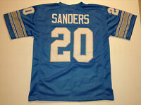 UNSIGNED CUSTOM Sewn Stitched Barry Sanders Blue Jersey - M, L, XL, 2XL