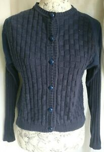 SELFRIDGES LONDON WOMENS NAVY FITTED SHORT COTTON KNITTING CARDIGAN SMALL SIZE