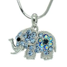 Elephant Made With Swarovski Crystal Blue Good Luck Necklace Chain Pendant
