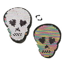 Reversible Sequin Skull (Iron On) Embroidery Applique Patch for Jeans Jacket