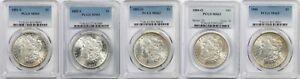 Lot 5 Mix Date Morgan Dollar $1 MS 63 PCGS Toned (5 Coins)