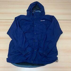 BERGHAUS Coat Mens Large Blue Hooded Full Zip Rain Jacket Outdoor