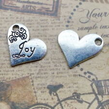10pcs Heart Charms JOY Words Tibetan Silver Beads Pendant DIY 20*21mm
