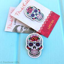 SUGAR SKULL BADGE - Mexican Artist Frida Kahlo Licensed Enamel Lapel Pin Brooch