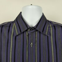 Bugatchi Uomo Mens Purple Black Striped Dress Button Shirt Size Large L