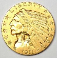 1911-S Indian Gold Half Eagle $5 Coin - AU Details - Rare San Francisco Coin!