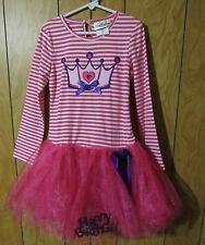 NWT RARE EDITIONS Princess HAPPY BIRTHDAY Stripe & Tulle Tutu DRESS Girl size 6