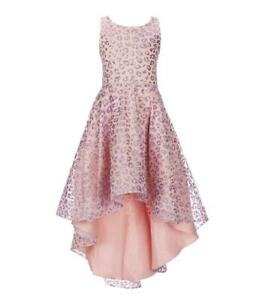 """NEW Rare Editions Girls """"PINK LILAC LEOPARD GLITTER"""" Size 10 High-Low Dress NWT"""