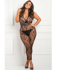 Sexy Elegant & Stylish PLUS SIZE Rene Rofe Lacy Movie Bodystocking Black 1X