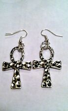 "ANKH CROSS 1.5"" drop silver EARRINGS, SP Wires, spiritual Egyptian"