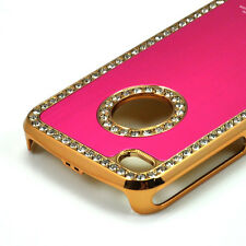 Lujo Bling Diamante Cristal Funda Rígida posterior cubrir para Apple iPhone 4 Hotpink