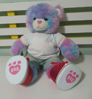BLUE PINK PURPLE TEDDY BEAR BUILD A BEAR BAB DRESSED WITH SPARKLY SHOES! 45CM