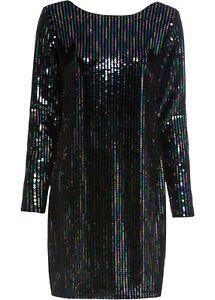 Pailletten Kleid Gr. 40 42 schwarz langarm Samtkleid Minikleid Abendkleid neu