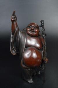 E1055: Japanese Copper HOTEI STATUE sculpture Ornament Figurines Okimono