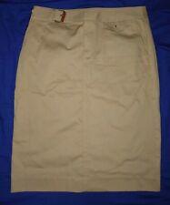 RALPH LAUREN beige cotton pencil skirt tan leather trim UK 12/US 8