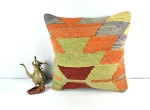 16x16 Kilim Pillow Cover Decorative Vintage Handknotten Bohemian Cushion A1697