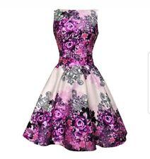 Lady Vintage Purple Rose Tea Dress size 8