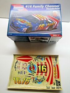 """Monogram 1:24 Scale Decal Sheet only for NASCAR T'Bird #16 """"The Family Channel"""""""