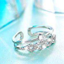 18K White Gold band Simulated Diamond Ring open free size fashion