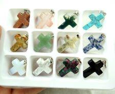 Beautiful cross multicolor agate PENDANT GEM/GEMSTONE LOOSE BEADS 12pcs