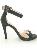 Sandali scarpe donna tacco alto 10 cm a stiletto nere pitonate eleganti sexy