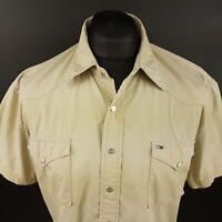 Tommy Hilfiger Mens Shirt MEDIUM Short Sleeve Beige Regular Fit Pockets