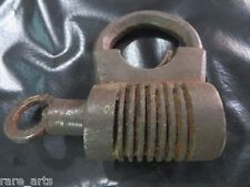 Antique Hand Forged Iron Padlock with screw in/out working key Rare Circa 1900