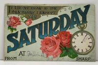 I Expect You SATURDAY Embossed 1913 Oil City Pa Postcard G18