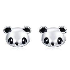 Bear Ear Stud Earrings For Girls Women 925 Sterling Silver Black & White Panda