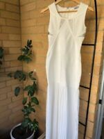 Formal Dress Size M 8-10 Bodycon Prom Beaded White Silver Louis Antoine