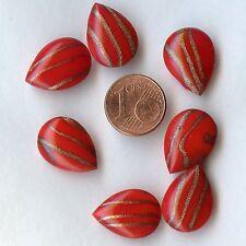 19V**4 cabochons verre  anciens,  poire 18,5x14mm rouge pailleté or x4 pcs