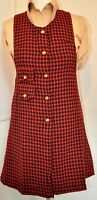 Mod Dress - 1960s Style Check Pinafore by Pop Boutique size 8 red & black