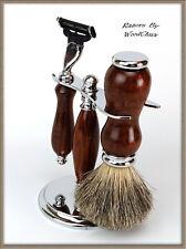 Shaving Razor Set Handmade Rare Snake Wood DE Safety Mach 3 Fusion 355a