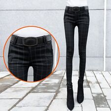 Korean Womens New Skinny Checks Trouser Cargo Elasticity  Plaid Pencil Pants K01