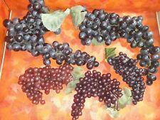 Lot 5 Realistic Artificial Faux Decorative Grapes Clusters Plastic Rubber Fruit
