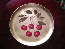 "Vintage 11"" Red Cherries ~ GOLD Leaf Decorated Signed Serving Tray ~ Platter"