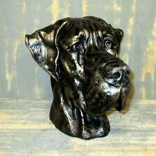 DEUTSCHE DOGGE KOPF BÜSTE bronze Patina Hund Garten Deko Tier Figur HUNDEKOPF