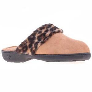ISOTONER Women's Microsuede Clog Slippers Cheetah Faux Fur Cuff Buckskin Tan