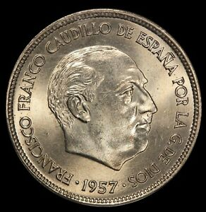 1957 (71) Spain 25 Pesetas Coin - ANACS MS 66 - KM# 787