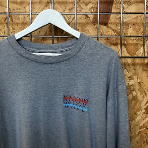 KNOW WAVE Logo L/S Tee T-Shirt Grey L LARGE crewneck long sleeve Supreme cond