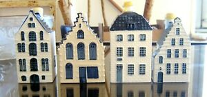 KLM Blue Delft Porcelain Houses Collection: Nrs 37, 44, 49, 55