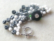 Polymer Clay Flower Bead Jasper Jade Black Silver Pewter Bracelet Beads Kit DIY