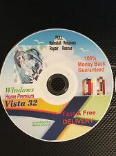 WINDOWS Vista Home Premium 32-bit Restore ReINSTALL Recovery Rescue Disc wHD