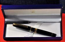 """Waterman"" Charleston Black Resin&GT 18k M nib Fountain pen w/Orig.box S0700980"